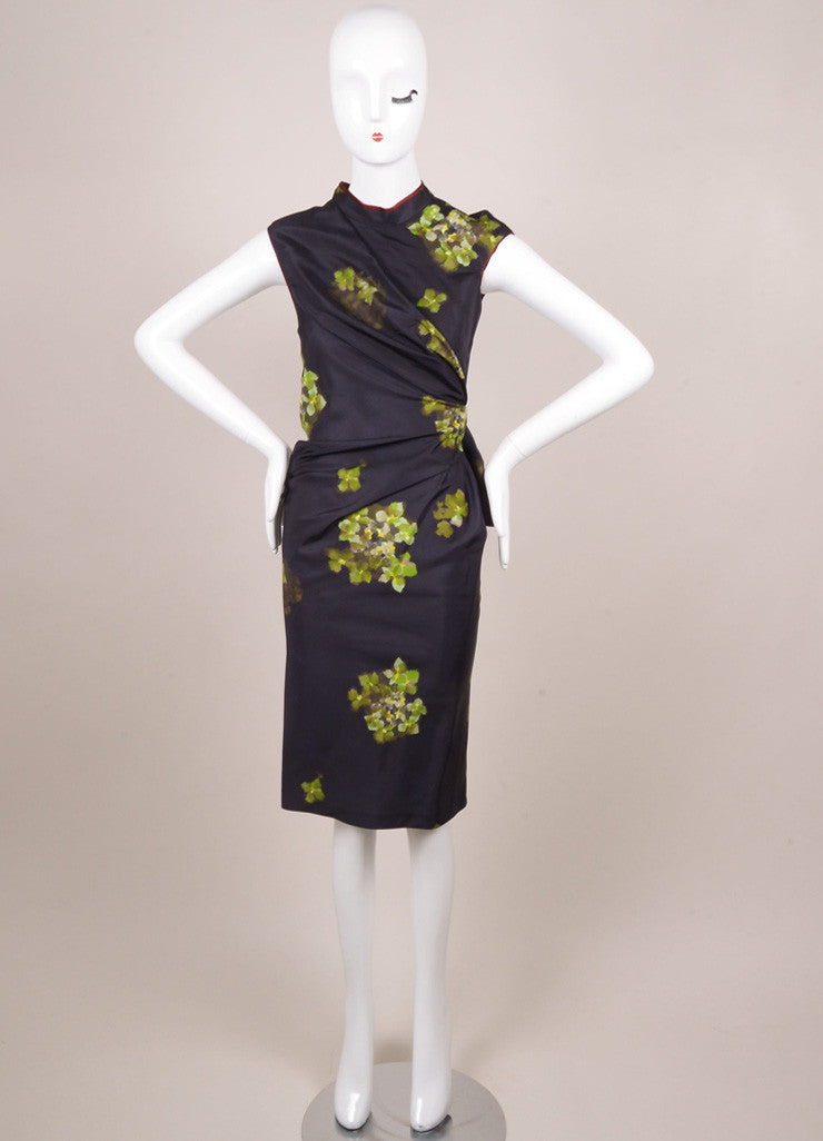 6267 Navy and Green Silk Floral Print Ruched Pinstripe Dress Frontview