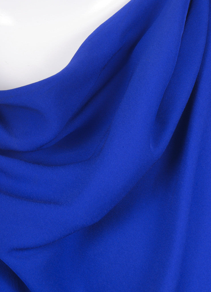 Lanvin Royal Blue Silk Draped Ruched Dress Detail