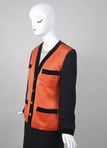 Black and Orange Satin Panel and Knit Skirt Suit