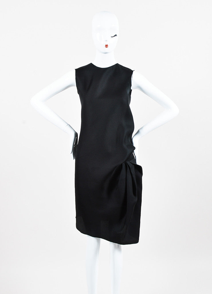 Lanvin Black Silk Gathered Raw Edge Sleeveless Shift Dress Frontview
