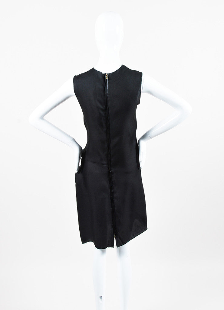 Lanvin Black Silk Gathered Raw Edge Sleeveless Shift Dress Backview