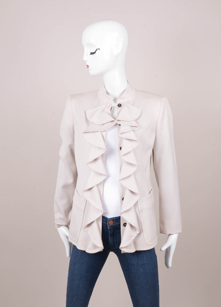 Beige Yves Saint Laurent Ruffle Wool Jacket and Skirt Set