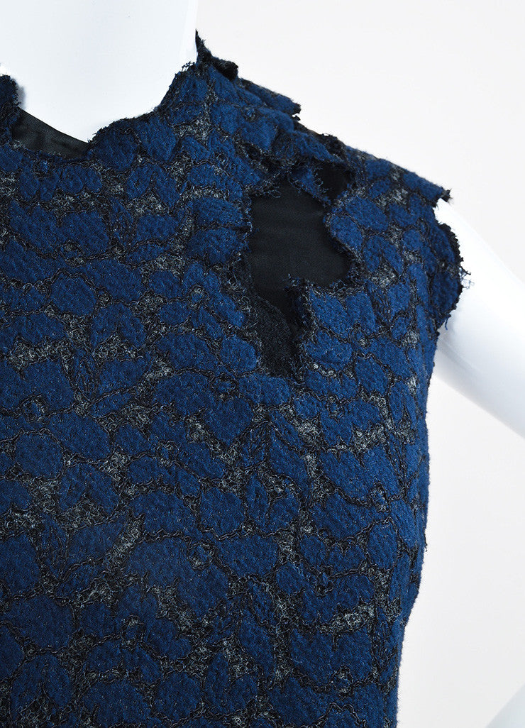Navy and Black 3.1 Phillip Lim Sateen Lace Overlay Cap Sleeve Dress Detail
