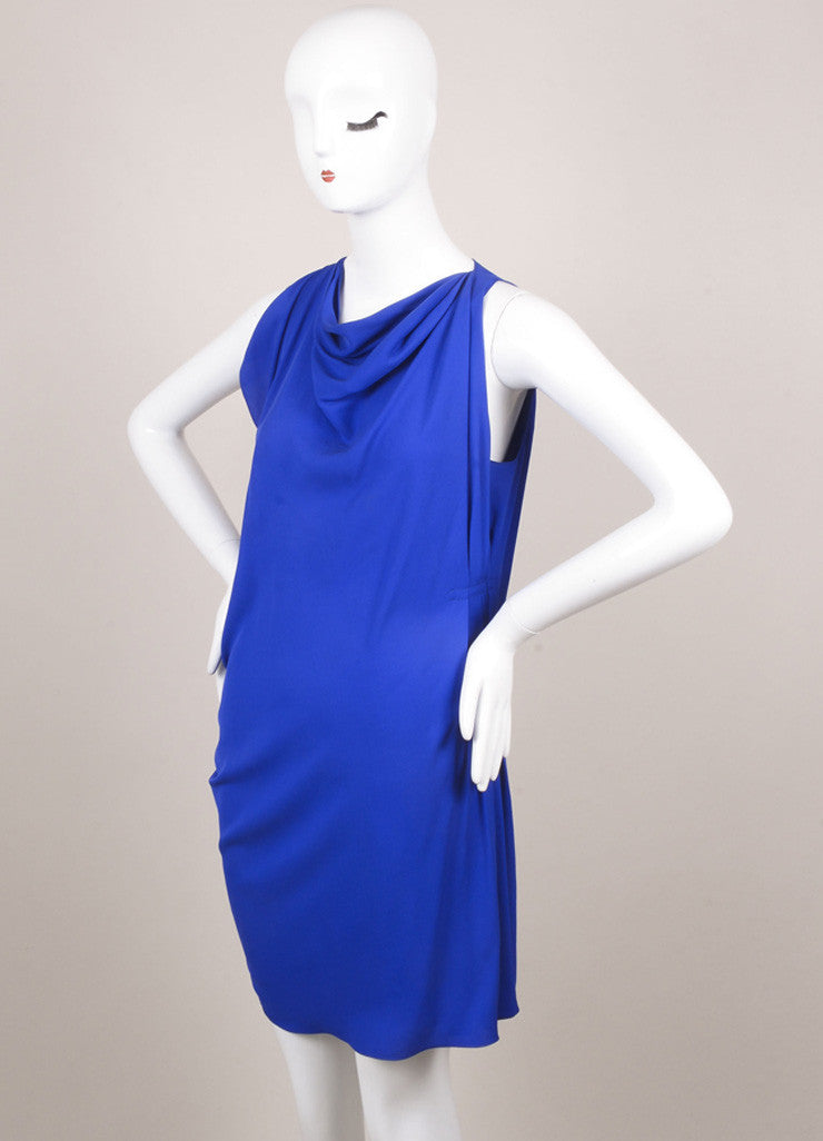 Lanvin Royal Blue Silk Draped Ruched Dress Sideview
