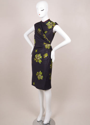 6267 Navy and Green Silk Floral Print Ruched Pinstripe Dress Sideview