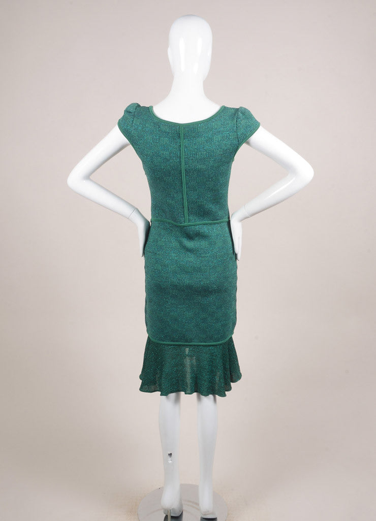 Alaia Green and Blue Metallic Knit Ruffle Trim Paneled Cap Sleeve Dress Backview