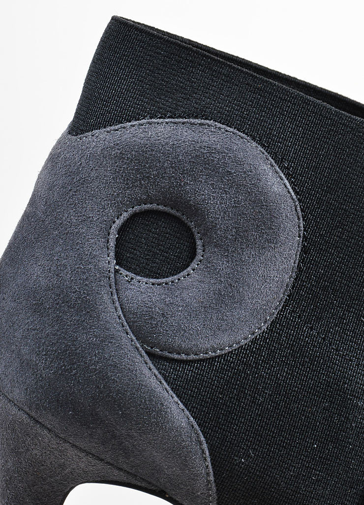 Grey and Black Alaia Suede Leather Swirl Booties Detail