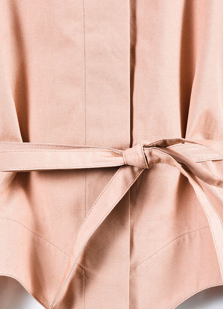 Nude Alaia Cotton Poplin Belted Three Quarter Sleeve Blouse Detail