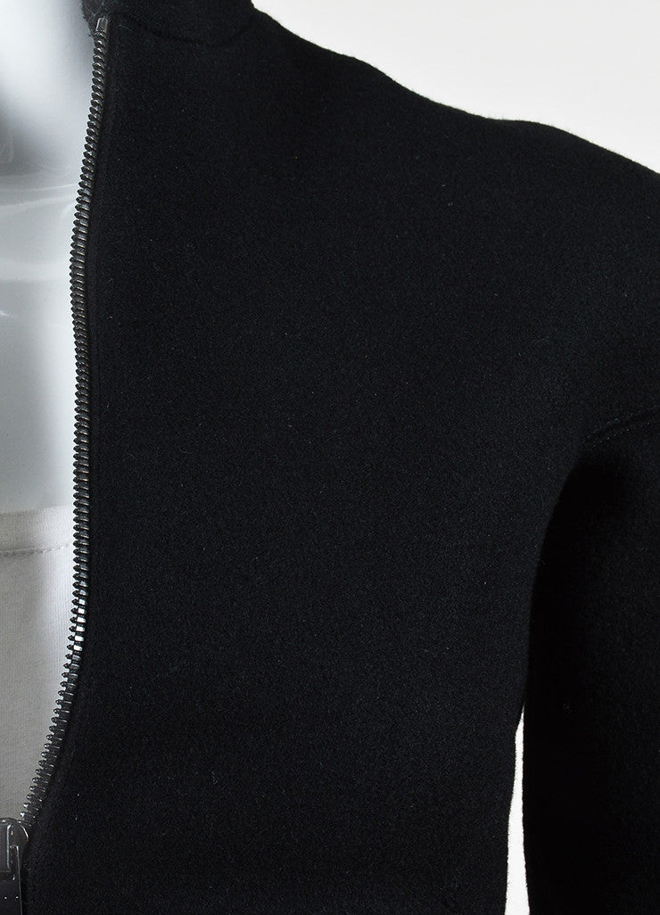 Black Alaia Wool Zip Front Structured Jacket Detail