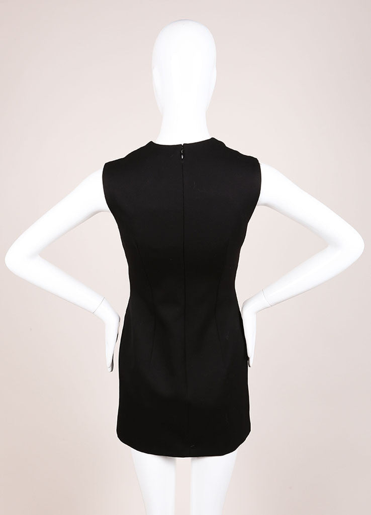 Alexander McQueen Black Sleeveless Wool Mini Suiting Dress Backview