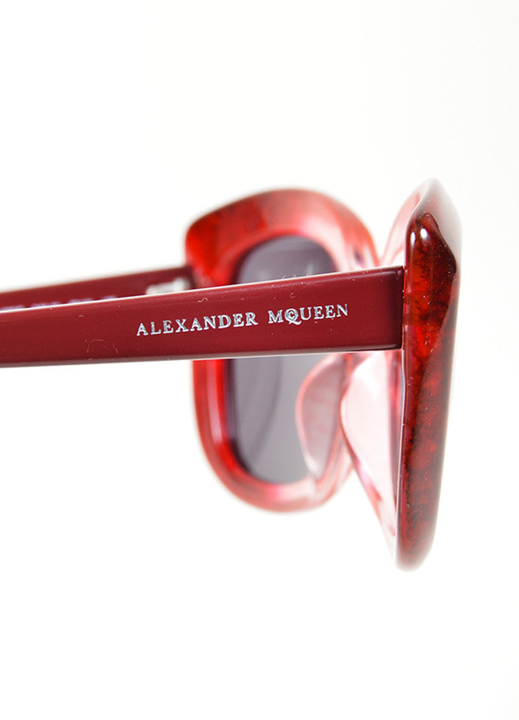"Red Ombre Translucent Square Cat Eye Alexander McQueen ""4235 S"" Sunglasses Detail"