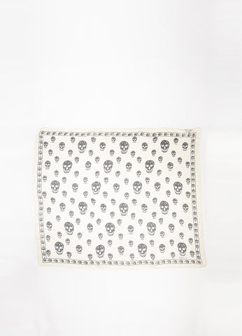 Alexander McQueen Cream and Black Silk Skull Print Sheer Scarf Frontview 2