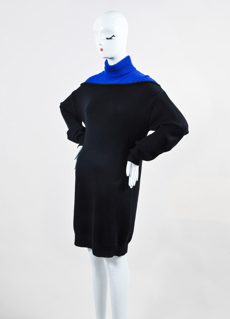 "Black and Cobalt Alexander Wang Wool Turtlenck ""Splittable"" Sweater Dress Sideview"