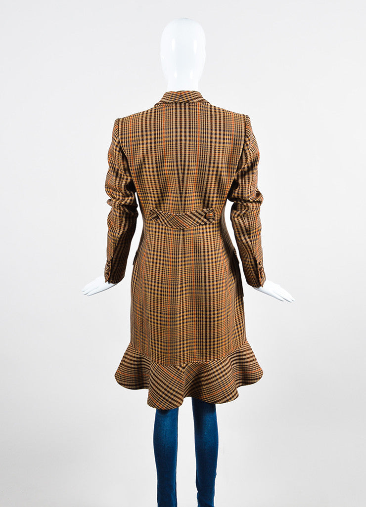 "Brown, Tan, and Orange Altuzarra Houndstooth ""Cooper"" Long Coat Backview"