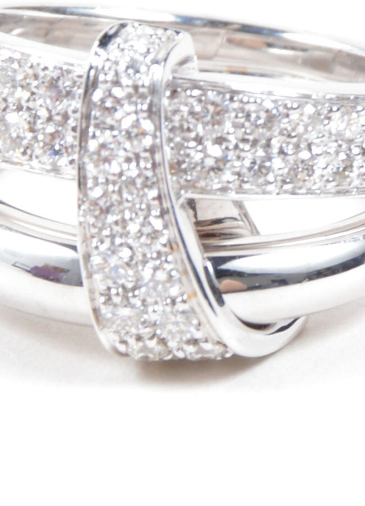 "Asprey of London 18K White Gold Pave Diamond Signature ""A"" Ring Detail"
