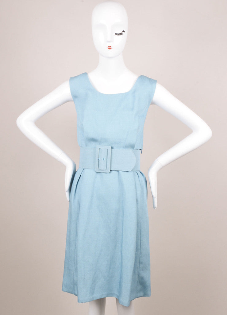 Balenciaga Edition Light Blue Woven Sleeveless Sheath Dress Frontview