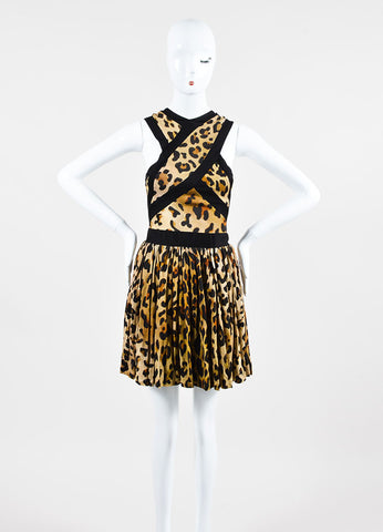 Black and Tan Balmain Leopard Print Sleeveless Mini Dress Frontview