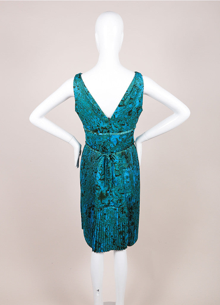 Bottega Veneta Blue and Green Printed Sleeveless Pleated Dress Backview