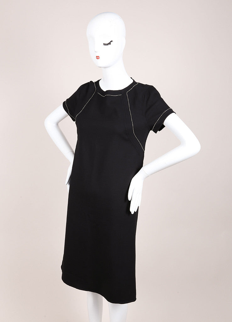 Bottega Veneta New With Tags Black Wool Short Sleeve Beaded Shift Dress Sideview