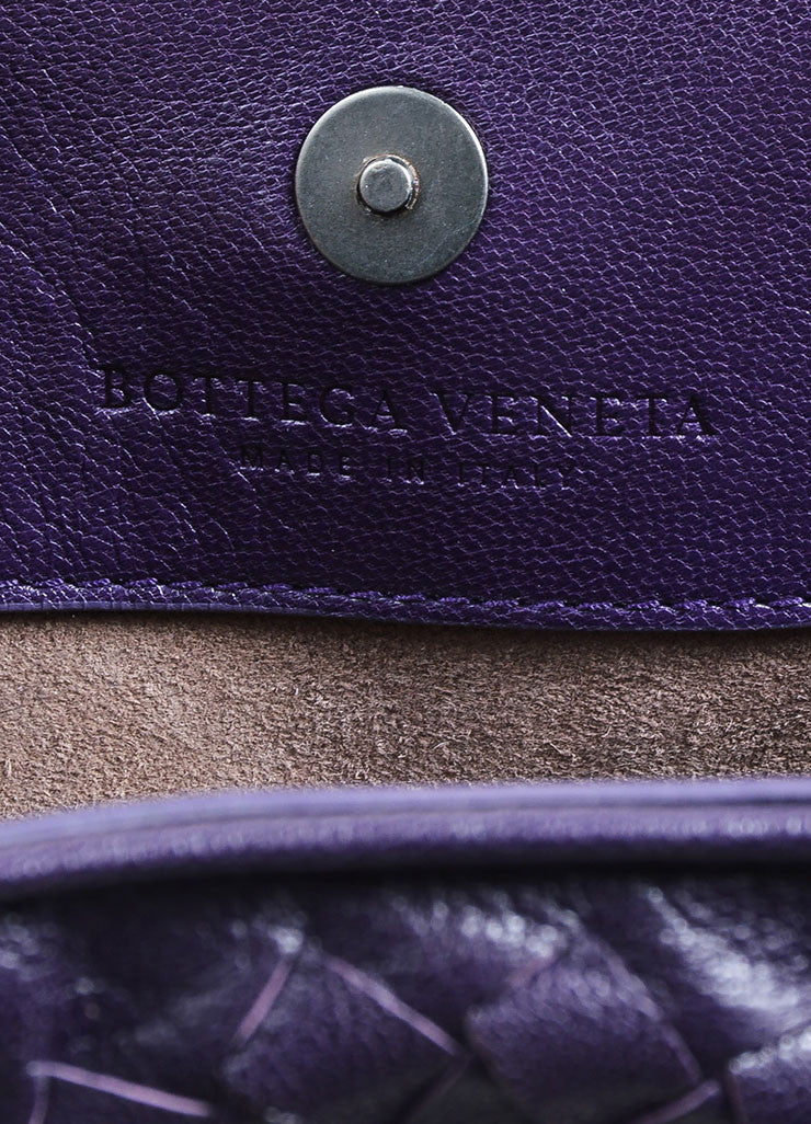 Purple Bottega Veneta Intrecciato Woven Leather Satchel Handbag Brand