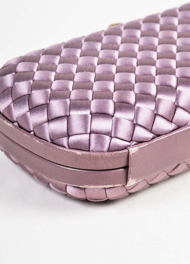 "Bottega Veneta Purple Woven Satin Leather Trim ""The Knot"" Clutch Bag Detail"