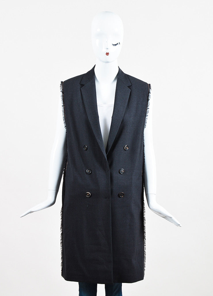 Brunello Cucinelli Charcoal Grey Wool Frayed Trim Double Breasted Vest Frontview 2
