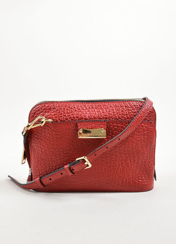 "Burberry ""Military Red"" Leather Heritage Grain Small Harrogate Cross Body Bag Frontview"