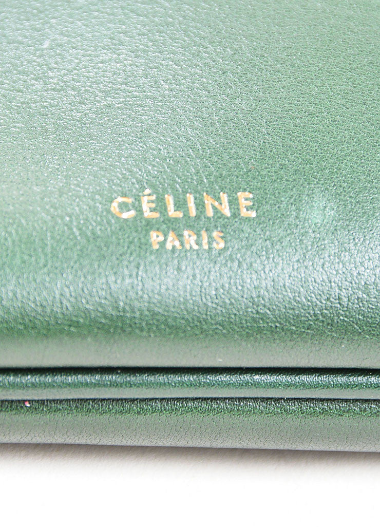 Green Leather Celine Zip Flat Shoulder Bag Brand