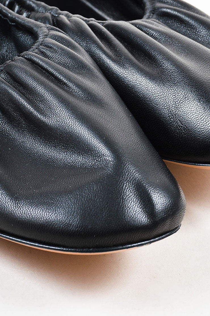 Celine Black Leather Elastic Classic Ballerina Flats Detail
