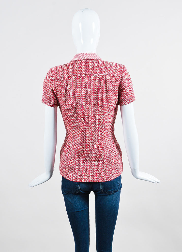 Pink Chanel Wool and Cotton Blend Tweed Short Sleeve Tailored Jacket Backview