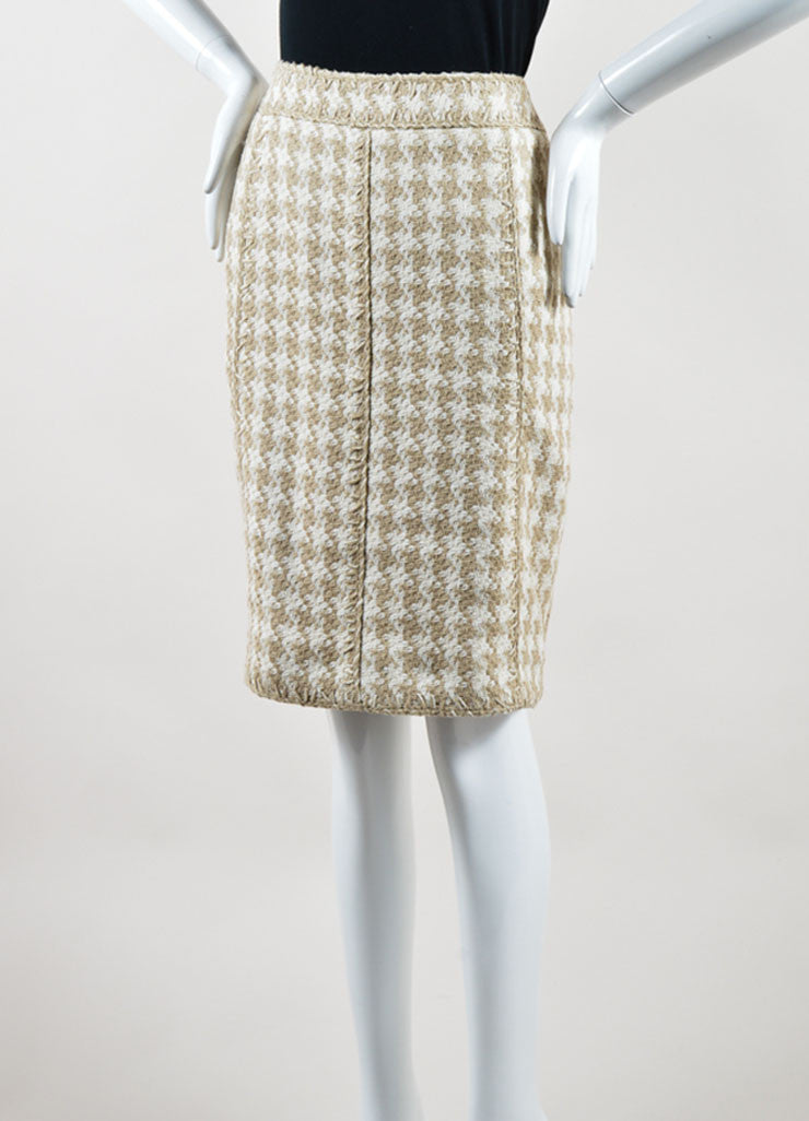 Chanel Taupe and White Silk Woven Houndstooth Pencil Skirt Sideview