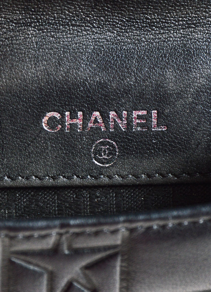 "Chanel Black Leather Quilted Precious Symbols ""Chocolate Bar"" Bifold Wallet Brand"