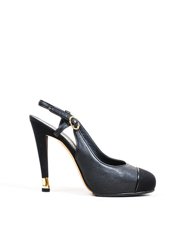 Black Leather Chanel Ribbon Cap Toe 'CC' Slingback Heel Side