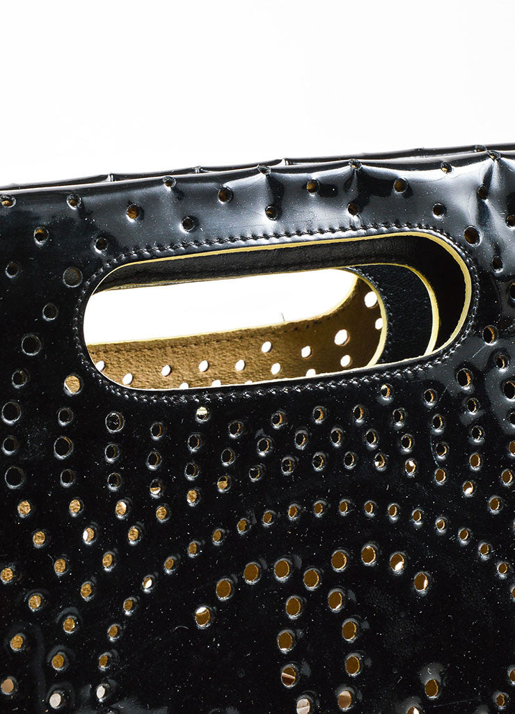 Black Chanel Perforated Patent Leather CC Logo Clutch Handle