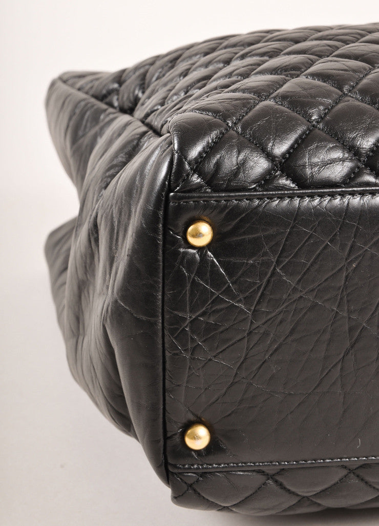 "Chanel Black Quilted Aged Calfskin ""CC"" Chain Shoulder Bag Detail"