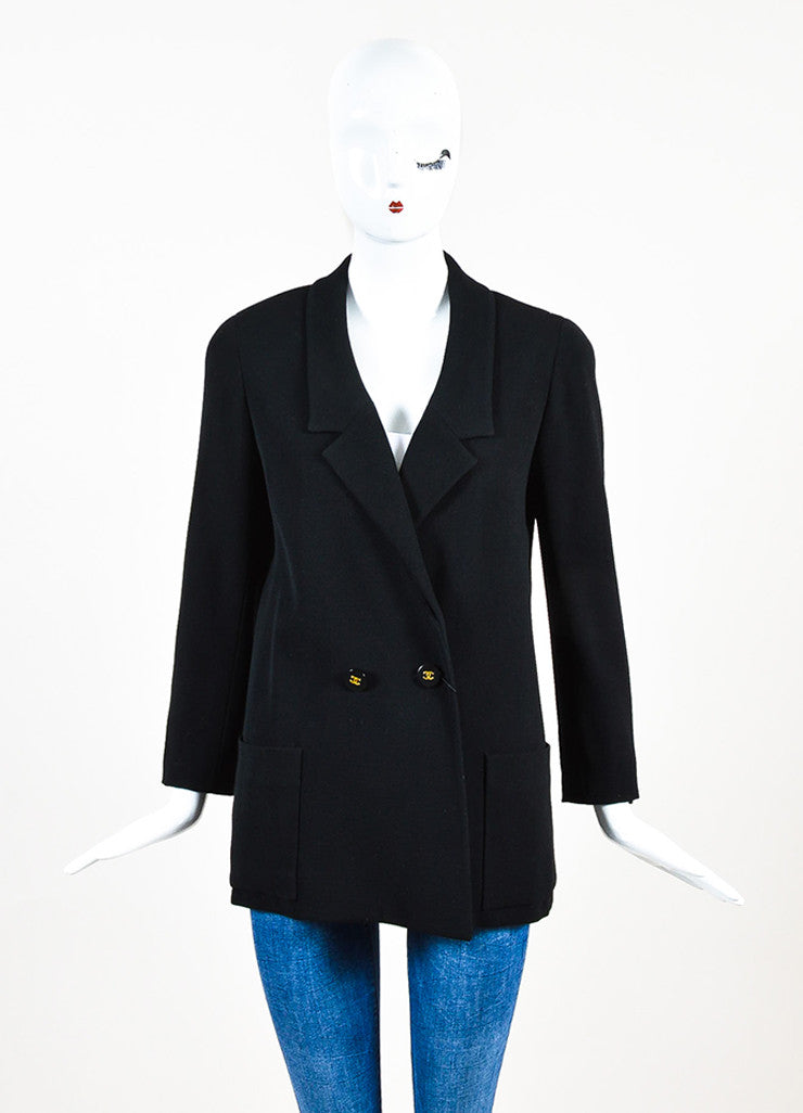 Chanel Black Twill Notch Lapel Double Breasted Blazer Frontview 2