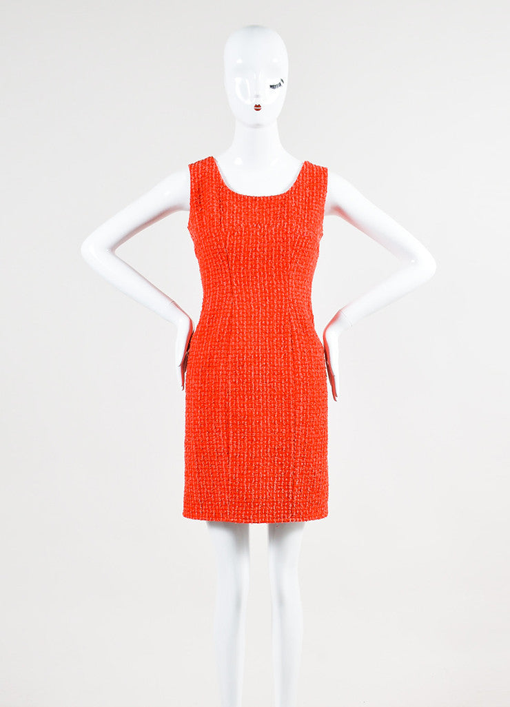 Red and Pink Chanel Boucle Tweed Sleeveless Sheath Dress Frontview