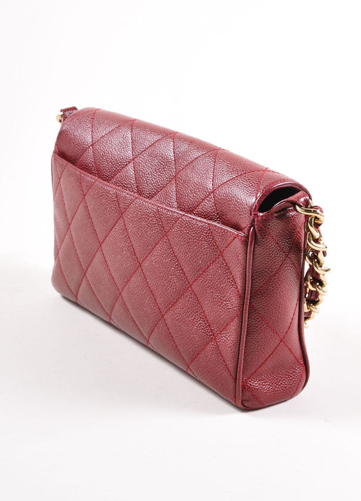 Chanel Burgundy Red and Gold Toned Caviar Leather Quilted Classic Flap Bag Sideview