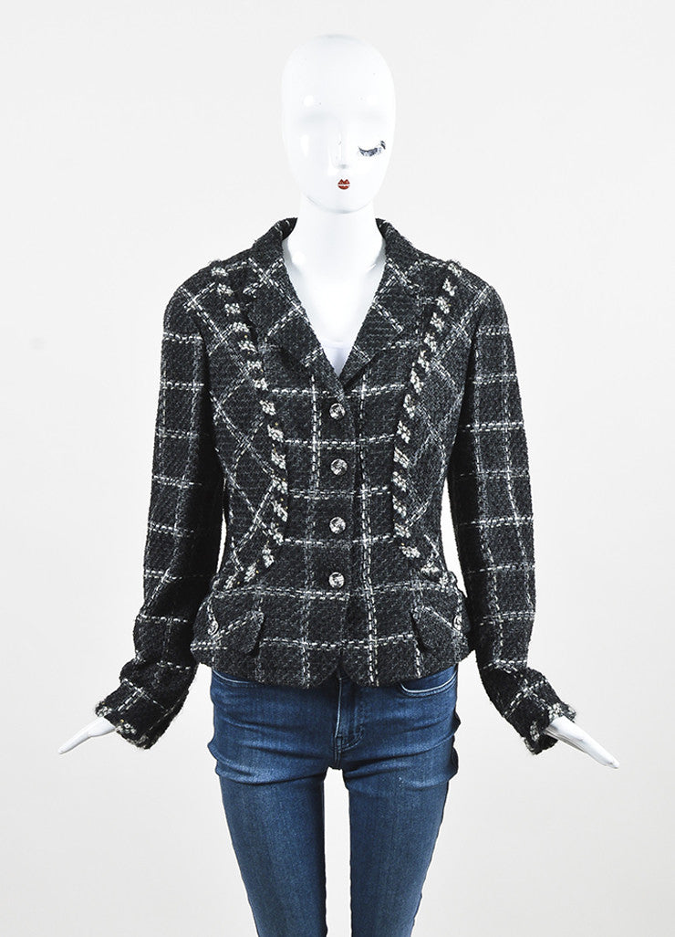 Chanel Charcoal Black White Metallic Gold Check Tweed Jacket Frontview 2