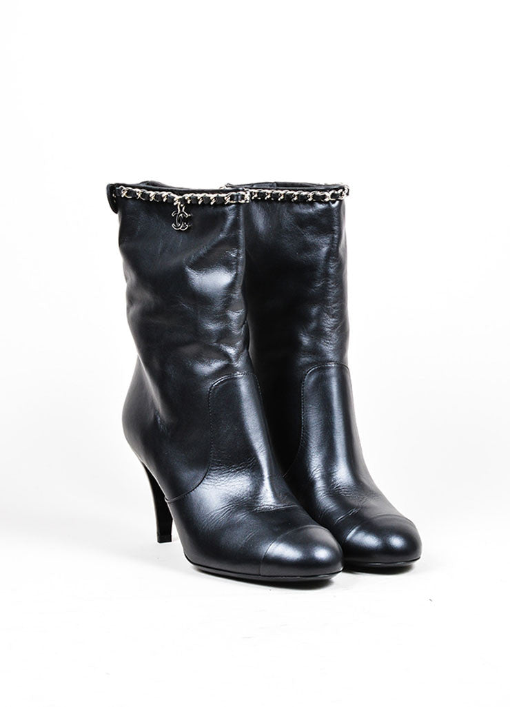 Black Leather Chain Trim Chanel 'CC' Logo Mid Calf Heeled Boots Frontview