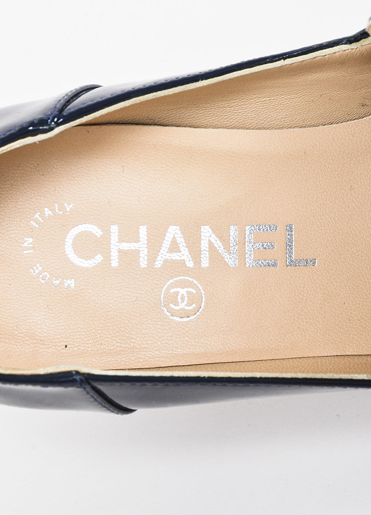 Chanel Navy Blue Patent Leather Silver Toned Chain Block Heel 'CC' Loafers Brand