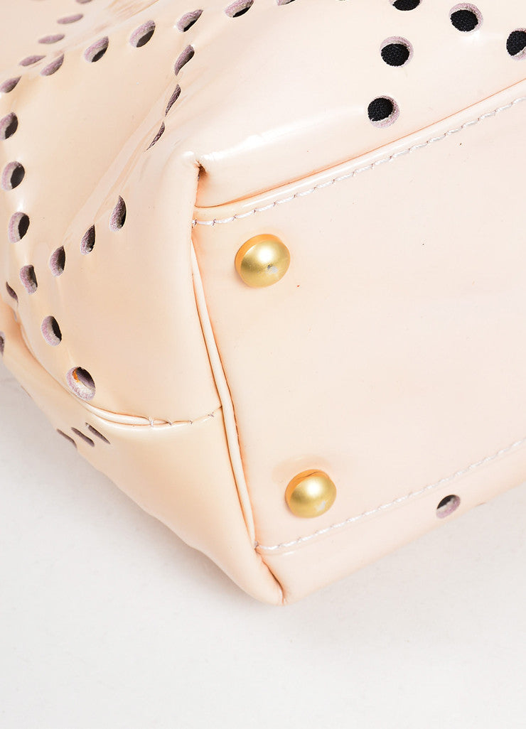 Nude Blush Chanel Patent Leather Perforated 'CC' Chain Tote Bag Detail
