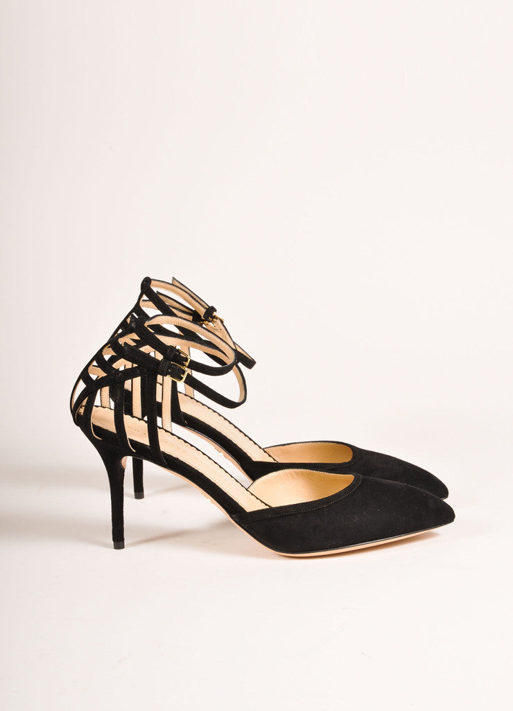 "Charlotte Olympia New In Box Black Suede Leather Web Back ""Aranea"" Pumps Sideview"