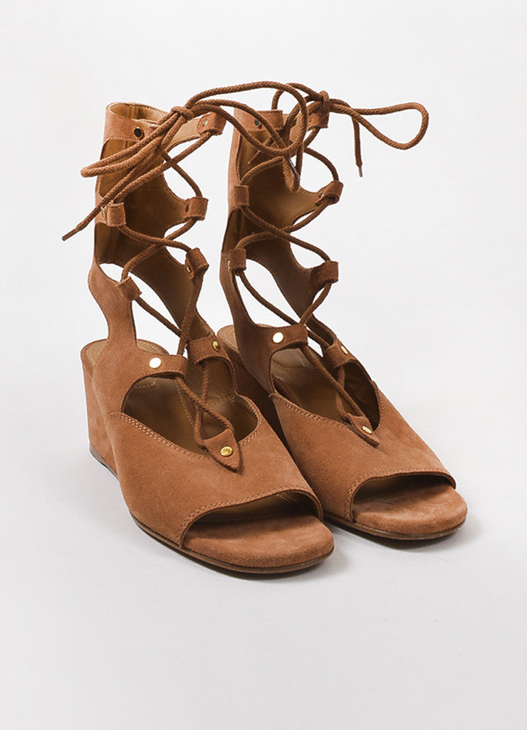 Chloe Brown Suede Lace Up Gold Toned Studded Gladiator Wedge Sandals Frontview