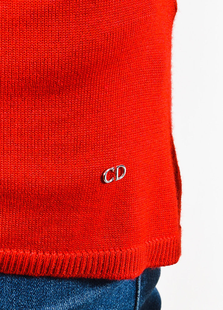 Red Christian Dior Cashmere Silk Knit Cropped Sleeve Top Detail