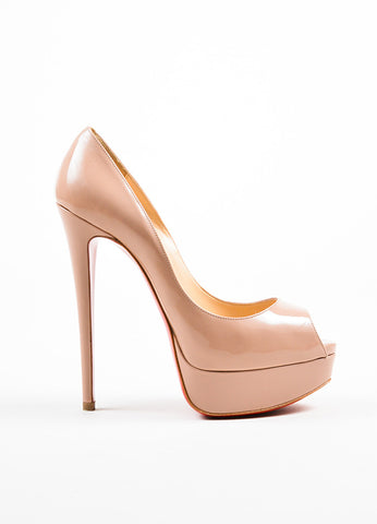"""Nude"" Beige Christian Louboutin Patent Leather ""Lady Peep"" Pumps Sideview"