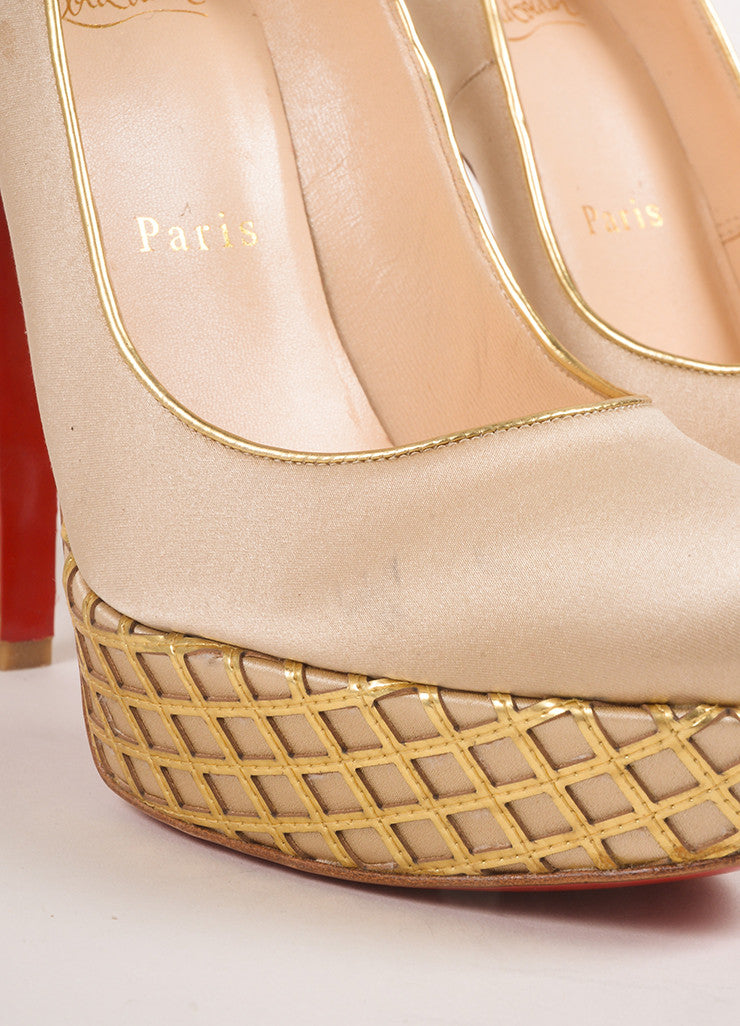 "Christian Louboutin Champagne and Gold Satin and Woven Leather Trim ""Bianca"" Pumps Detail"