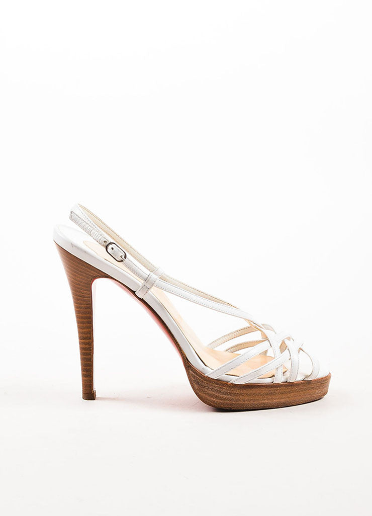 Christian Louboutin White Leather Strappy Sandal Heels Sideview