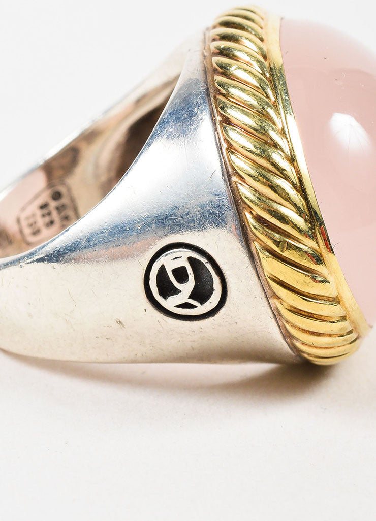 David Yurman Sterling Silver, 18K Yellow Gold, and Rose Quartz Cocktail Ring Detail