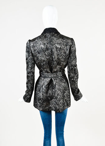 Dolce & Gabbana Black and Gunmetal Metallic Brocade Wool Blend Coat Backview